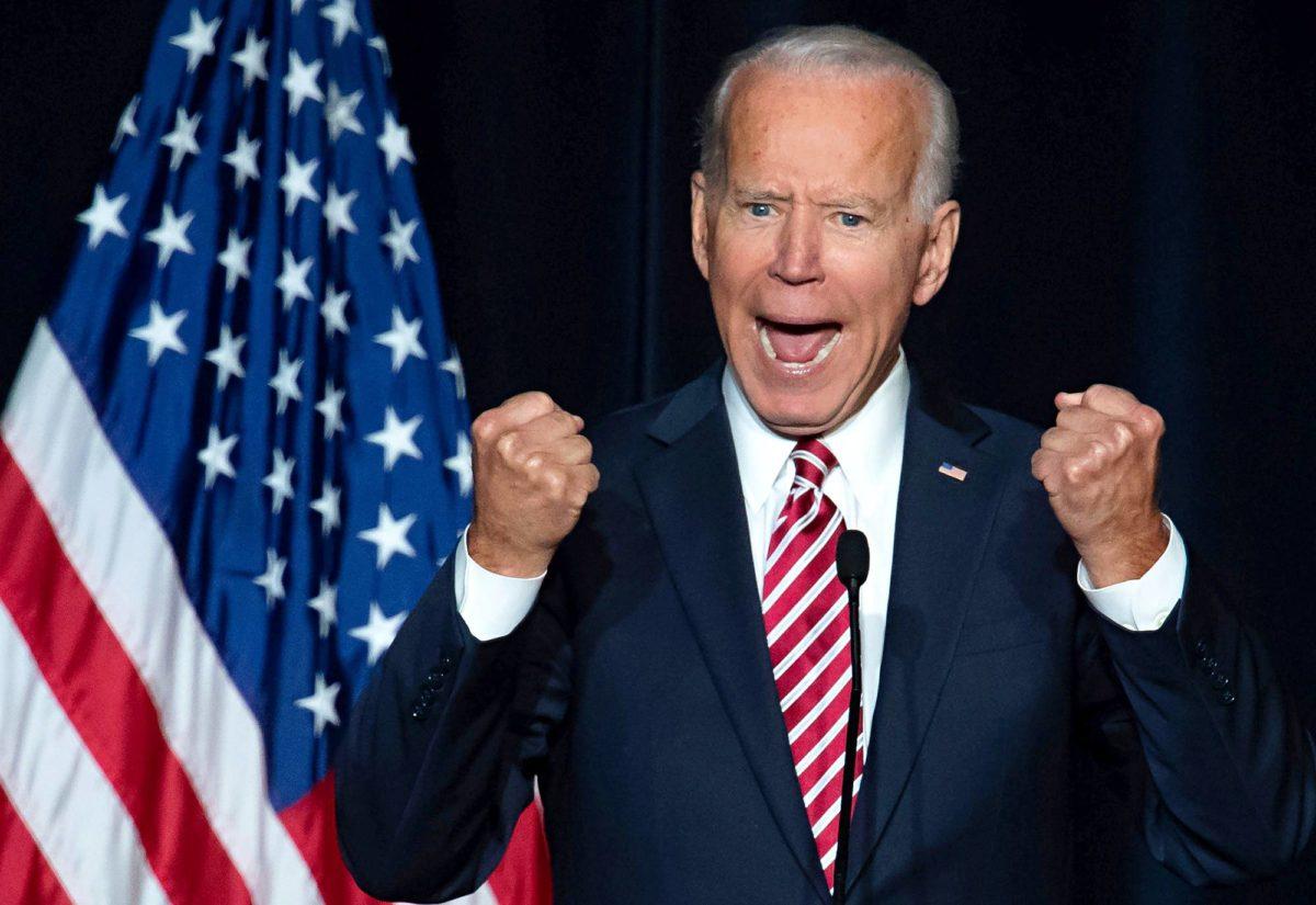 Entinen varapresidentti Joe Biden puhui demokraattipuolueen jäsenille Doverissa, Delawaren osavaltiossa 16. maaliskuuta 2019.