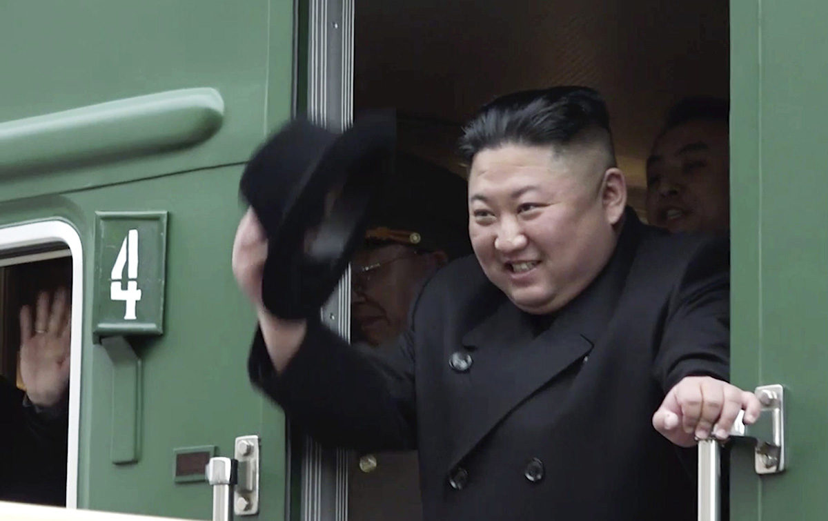 Pohjois-Korean johtaja Kim Jong-un matkusti junalla tapaamaan Venäjän presidentti Vladimir Putinia 24. huhtikuuta 2019.
