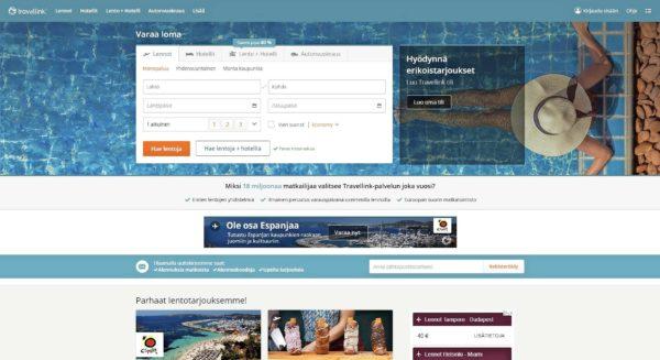 Travellink välittää lentoja, hotelleja ja vuokra-autoja.