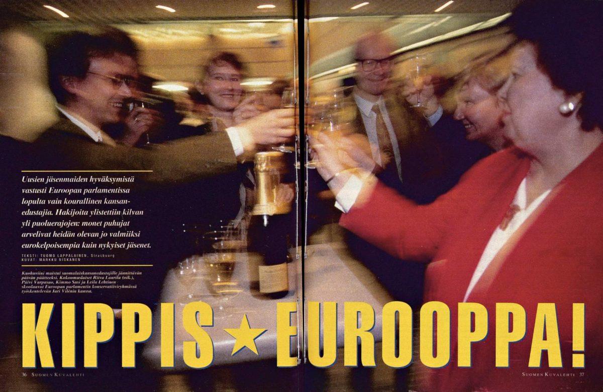 """SK 19/1994 (13.5.1994) Tuomo Lappalainen: """"Kippis Eurooppa!"""" Kuva: Markku Niskanen"""