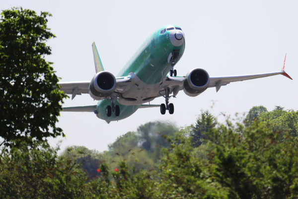 Boeing 737 MAX 8 koelennolla Rentonissa Yhdysvalloissa 8. toukokuuta 2019.