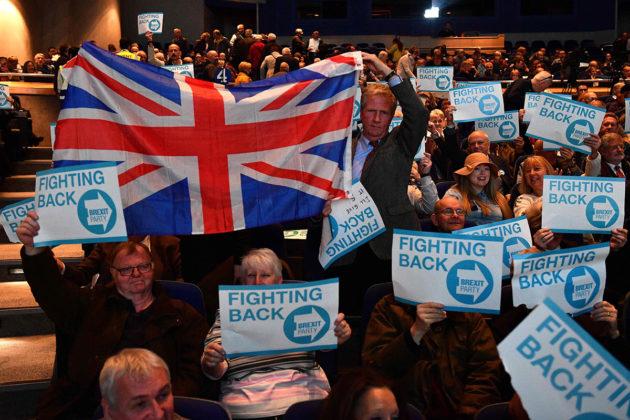 Brexit-puolue aloitti eurovaalikampanjansa Birminghamissa 13. huhtikuuta 2019.
