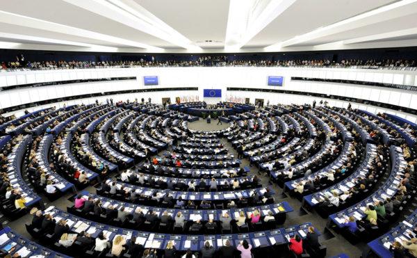 Euroopan parlamentin istuntosali Ranskan Strasbourgissa.