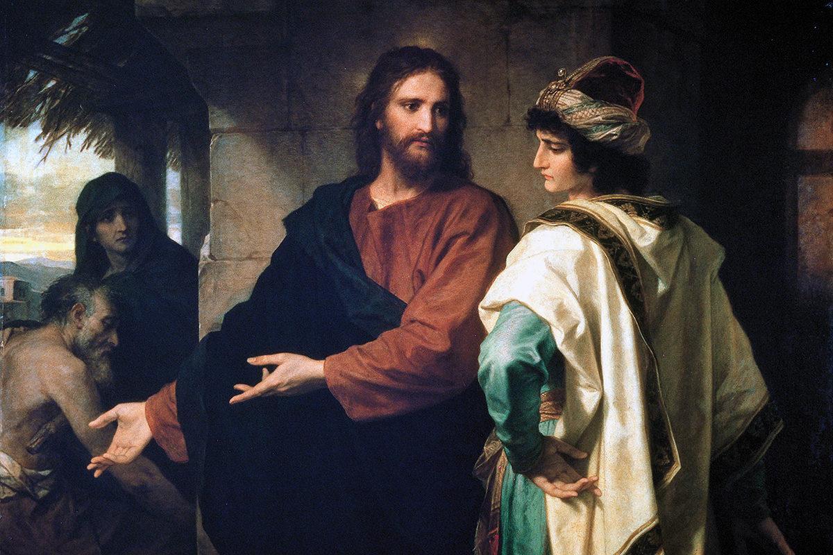 Jeesus ja rikas nuorukainen Heinrich Hofmannin maalauksessa vuodelta 1889.
