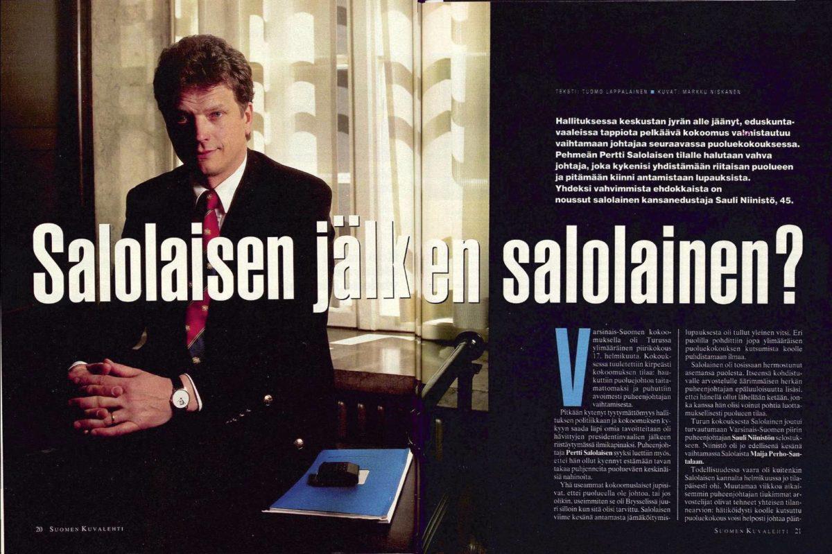"""SK 22/1994 (3.6.1994) Tuomo Lappalainen: """"Salolaisen jälkeen salolainen?"""" Kuva: Markku Niskanen"""