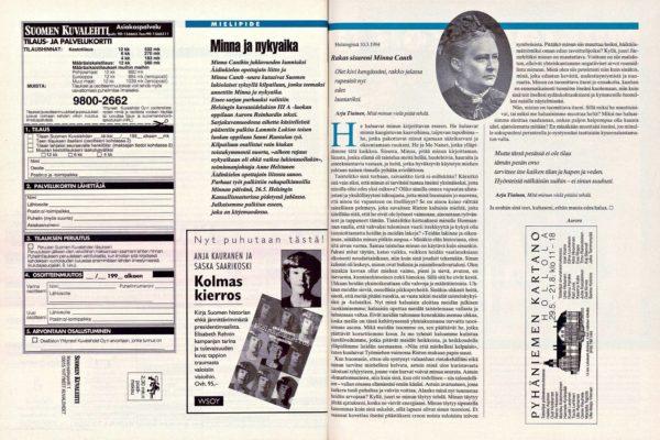 "SK 21/1994 (27.5.1994) Aurora Reinhard: ""Minna ja nykyaika"""