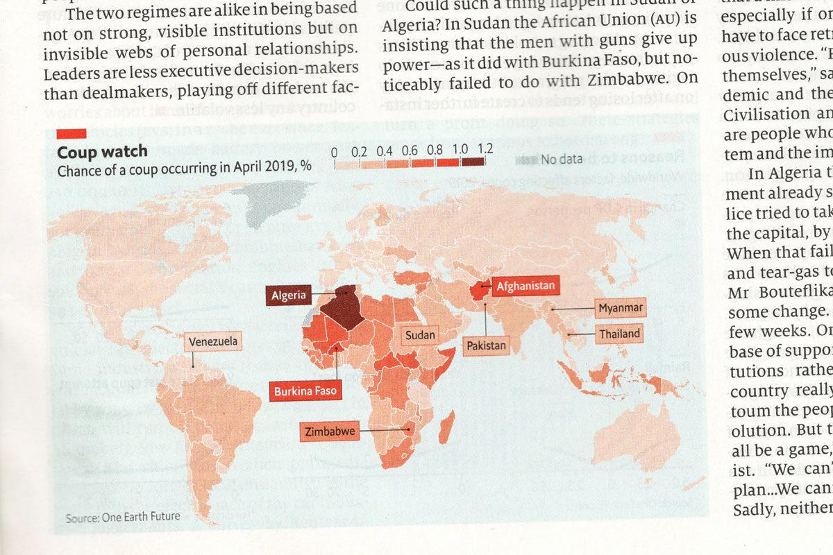 The Economist -lehden kartassa Suomen ja Ukrainan vallankaappausriski on väritetty samalla värillä.