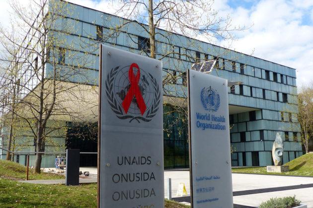 YK:n aids-ohjelman päämaja Genevessä 9. huhtikuuta 2019.