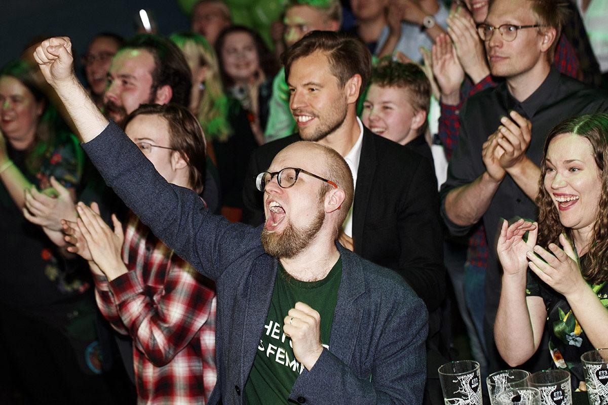 Vihreiden vaalivalvojaisissa juhlistettiin eurovaalien tulosta 26. toukokuuta 2019.