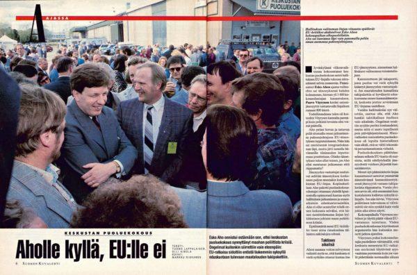 """SK 25–26/1994 (23.6.1994) Tuomo Lappalainen, Olli Ainola: """"Aholle kyllä, EU:lle ei"""" Kuva: Markku Niskanen"""