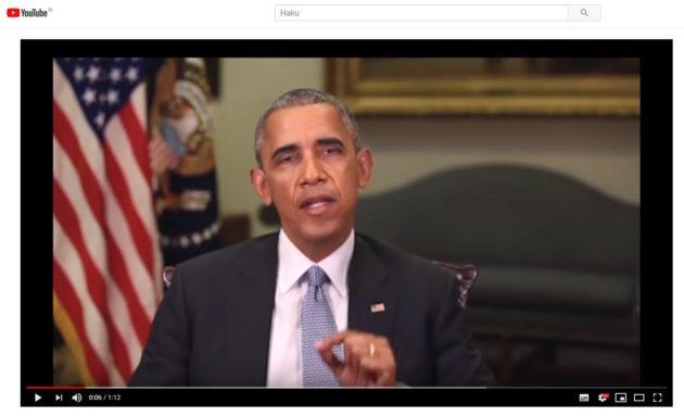 Ruutukaappaus Barack Obamaa esittävältä deep fake -videolta.