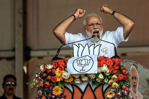 Pääministeri Narendra Modi puhui vaalitilaisuudessa Kalkutassa huhtikuun alussa.