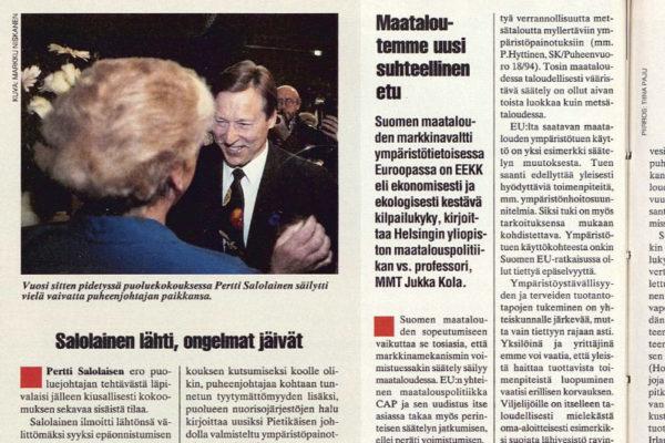 """SK 23/1994 (10.6.1994) Tuomo Lappalainen: """"Salolainen lähti, ongelmat jäivät"""" Kuva: Markku Niskanen"""