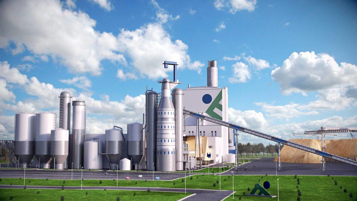 Kaikille suunnitteilla oleville tehtaille tuskin riittää rahoitusta ja puuta raaka-aineeksi. Havainnekuva Finnpulpin tehtaasta.