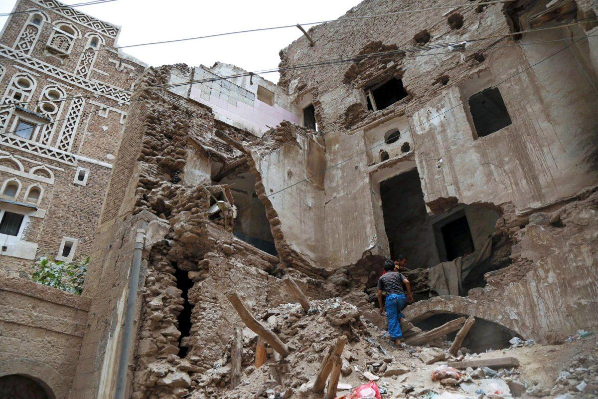 Pommituksissa tuhoutunutta Sanaan vanhaa kaupunkia Jemenissä 7. heinäkuuta 2019.