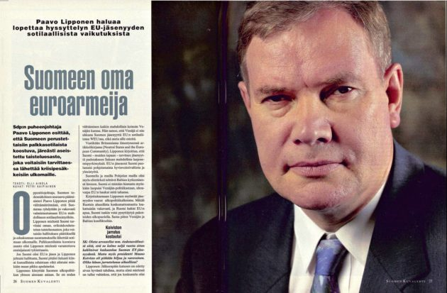 """SK 27/1994 (8.7.1994) Olli Ainola:""""Suomeen oma euroarmeija"""" Kuva: Petri Kaipiainen"""