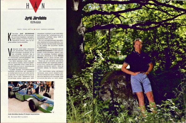 """SK 29/1994 (22.7. 1994) Pekka Anttila: """"Jyrki Järvilehto, kilpa-ajaja"""" Kuvat: Markku Niskanen"""