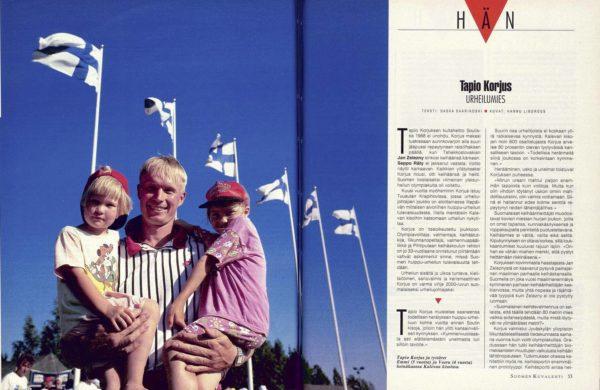 """SK 31/1994 (5.8.1994) Saska Saarikoski: """"Hän: Tapio Korjus, urheilumies"""", kuvat Hannu Lindroos."""