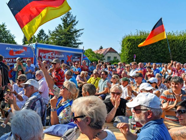 AfD:n vaalitilaisuus Peitzin kaupungissa Brandenburgissa 25. elokuuta. Osavaltion paikallisvaalit käydään sunnuntaina 1. syyskuuta.