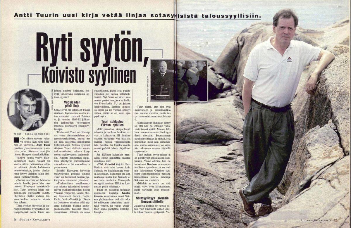 """SK 32/1994 (12.8.1994) Saska Saarikoski: """"Ryti Syytön, Koivisto syyllinen"""""""