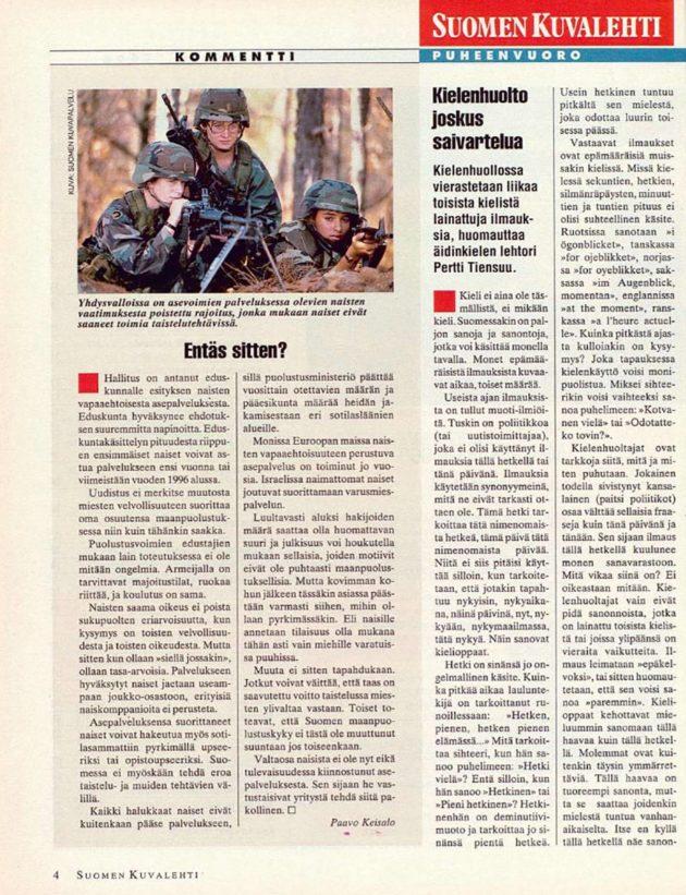 """SK 34/1994 (26.8.1994) Paavo Keisalo: """"Entäs sitten?"""""""