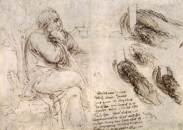 Leonardo da Vincin työpäiväkirjaansa piirtämä kuva esittää mahdollisesti Leonardoa itseään.