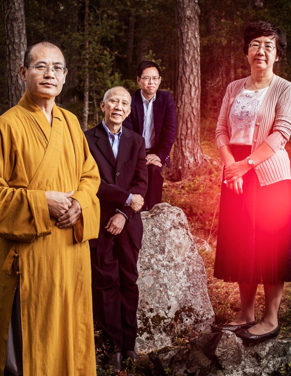 Wei Shan (vas.), He Guanghu, Yin Zhihua ja Wang Yujie kuvattuina Helsingin Vuosaaressa.