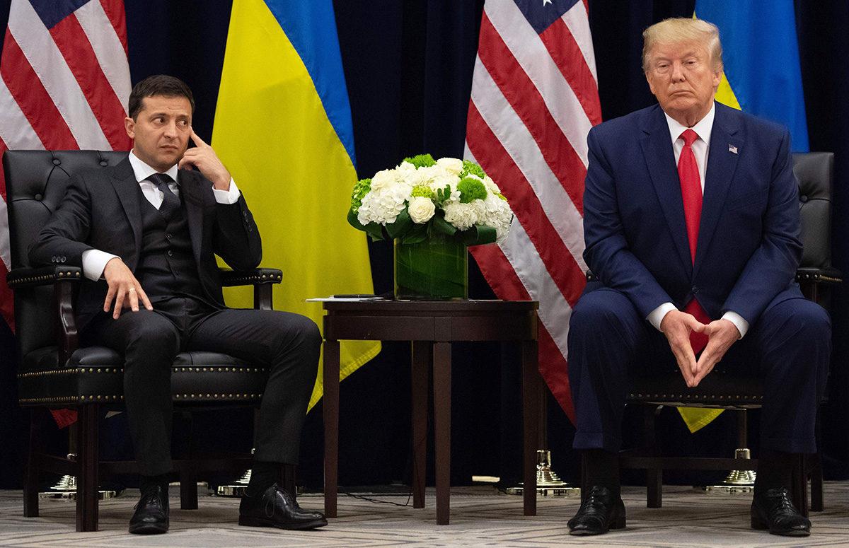 Yhdysvaltain presidentti Donald Trump ja Ukrainan presidentti Volodymyr Zelenskyi tapasivat New Yorkissa 25. syyskuuta 2019.
