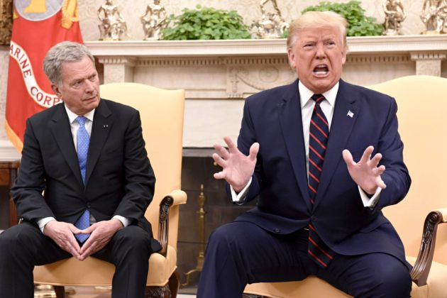 Presidentit Donald Trump ja Sauli Niinistö yhteisessä tiedotustilaisuudessa 2. lokakuuta.