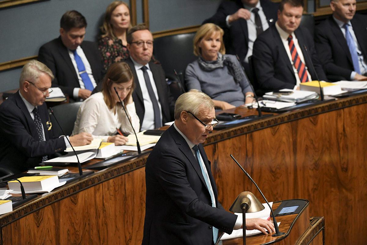 Pääministeri Antti Rinne puhui eduskunnan täysistunnossa 8. lokakuuta 2019.