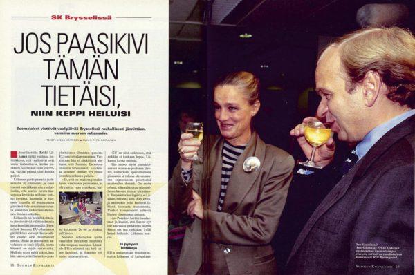 """SK 42/1994 (21.10.1994) Leena Häyrinen: """"Jos Paasikivi tämän tietäisi, niin keppi heiluisi"""" Kuvat: Petri Kaipiainen"""