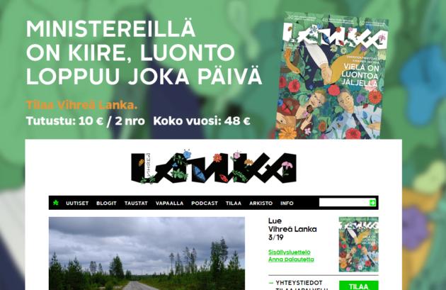 Ruutukaappaus Vihreän langan verkkosivuilta.