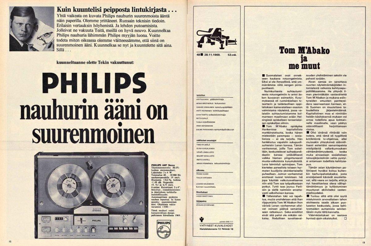 """SK 48/1969 (28.11.1969) """"Tom M'Abako ja me muut"""" (pääkirjoitus)"""