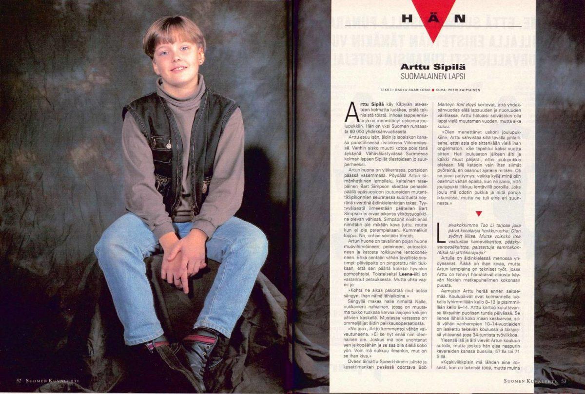 """SK 49/1994 (9.12.1994) Saska Saarikoski: """"Hän: Arttu Sipilä, suomalainen lapsi"""""""
