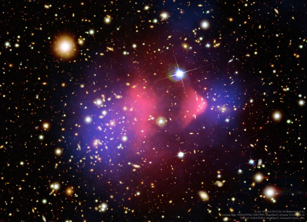 Pimeän aineen läsnäolosta kertoo muun muassa Luotijoukoksi kutsuttu galaksien yhteentörmäys. Nasan kuvassa pimeän aineen alue on merkitty sinisellä.