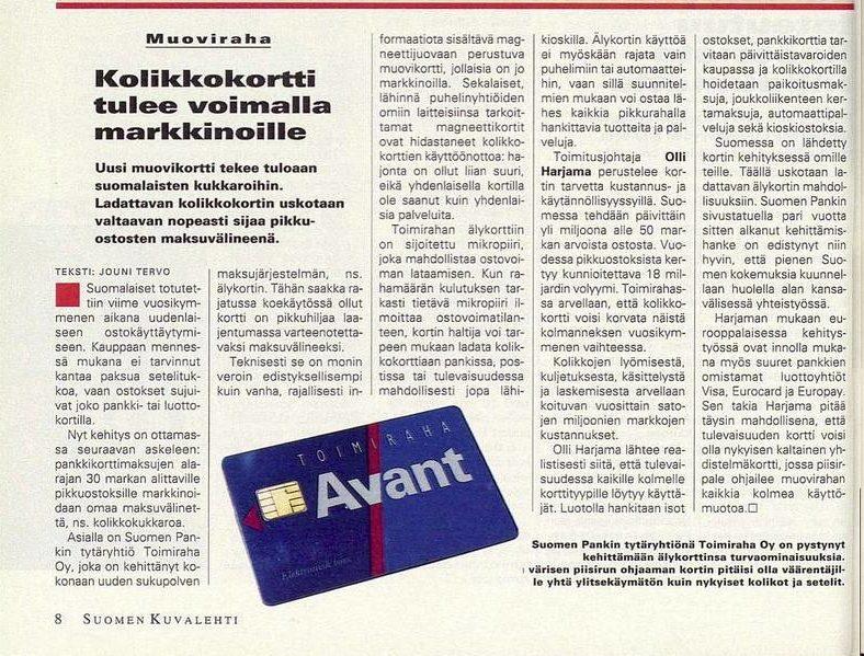 """SK 45/1994 (11.11.1994) Jouni Tervo: """"Kolikkokortti tulee voimalla markkinoille"""""""