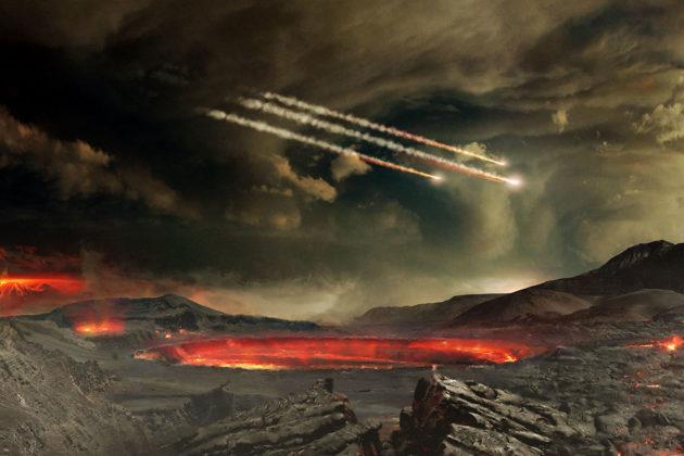 Taiteilijan näkemys muinaisesta Maasta, jonka pintaan meteorit iskeytyvät.