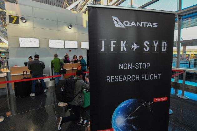 Yli 19 tuntia kestänyt Qantasin suora lento New Yorkista Sydneyyn lähti John F. Kennedyn lentoasemalta 19. lokakuuta 2019.
