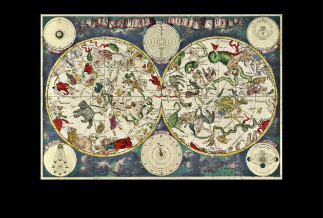 Frederik de Witin laatima koko taivaan kartta vuodelta 1670. Taivaanpallo kuvattiin ikään kuin ulkopuolelta nähtynä, joten tähdistöt ovat kartassa peilikuvina.