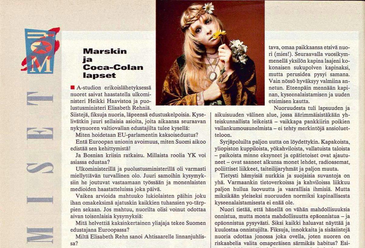 """SK 1/1995 (5.1.1995) Anja Kauranen, Saska Saarikoski: """"Marskin ja Coca-Colan lapset"""""""