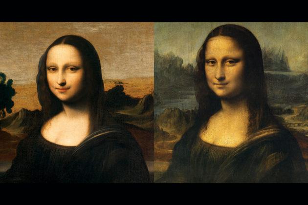 """""""Varhainen Mona Lisa"""" (vas.) ja Louvren Mona Lisa."""