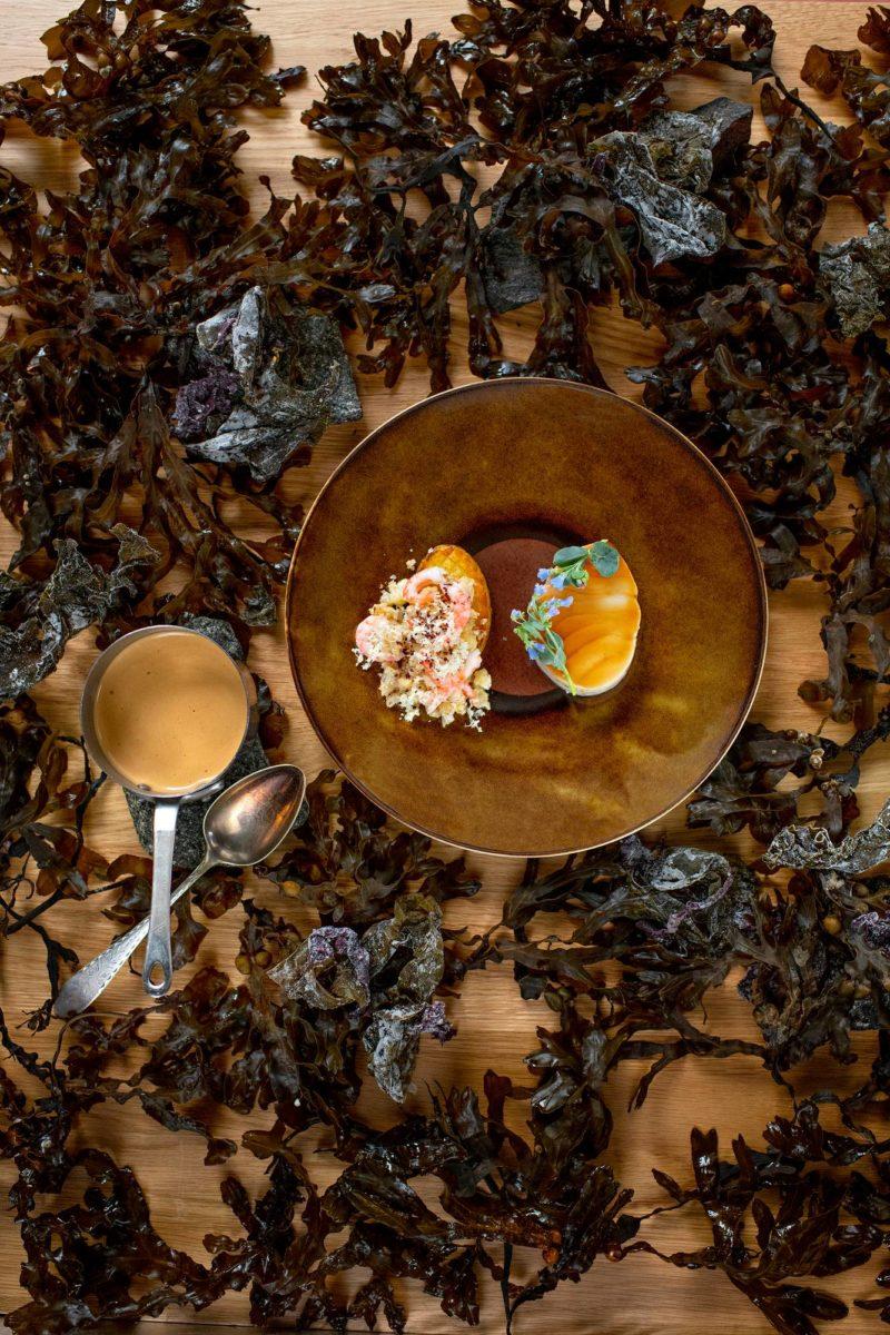 Nuden annoksessa kohtaavat pohjoisen raaka-aineet: merilevä, islantilainen turska, katkarapu ja peruna.