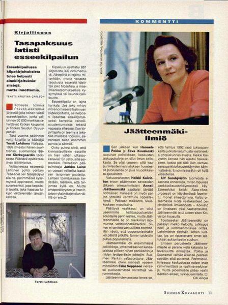 """SK 4/1995 (27.1. 1990) Olli Ainola: """"Jäätteenmäki-ilmiö"""" Kuva: Tor Wennstöm"""