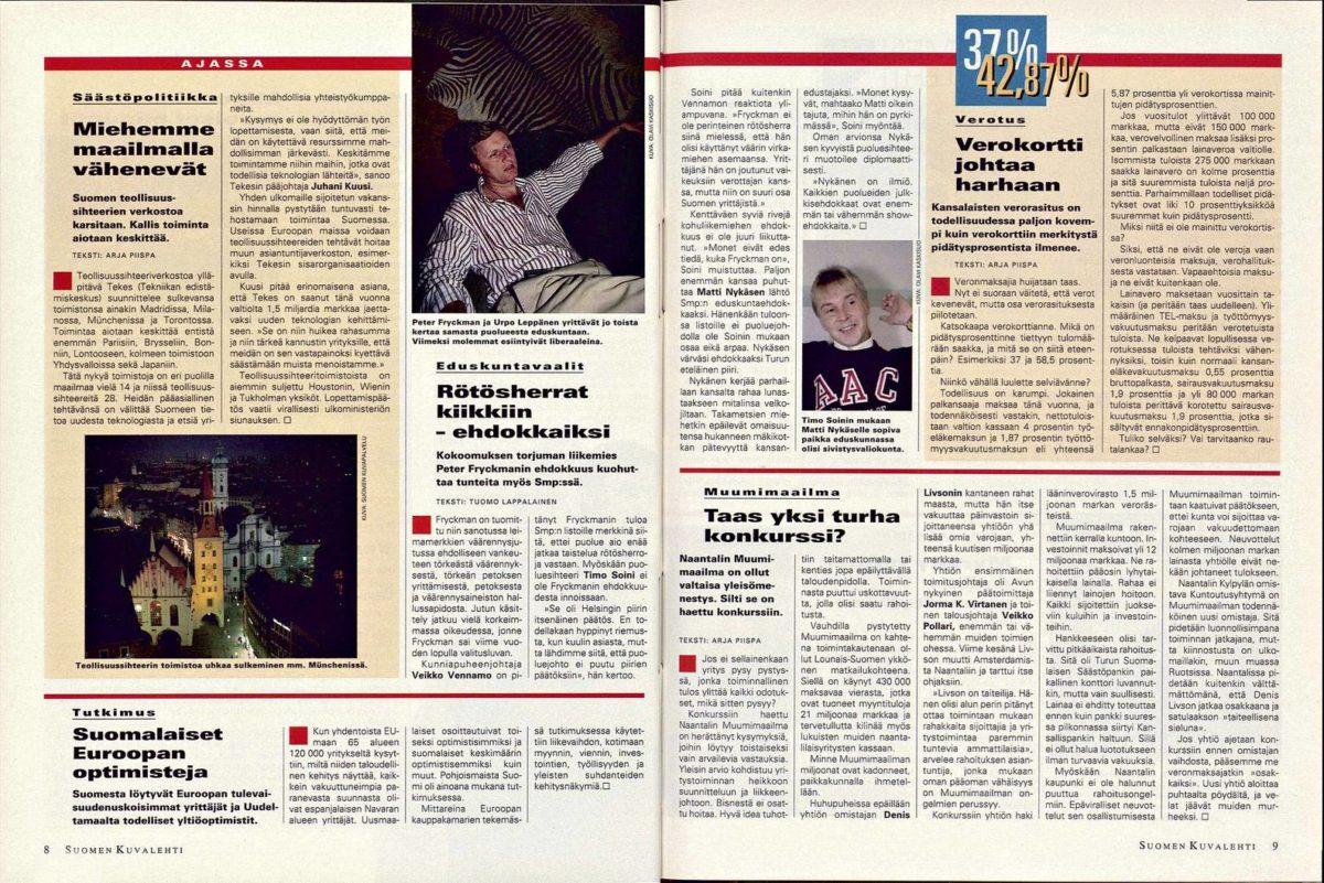 """SK 5/1995 (3.2.1995) Tuomo Lappalainen: """"Rötösherrat kiikkiin– ehdokkaiksi"""""""
