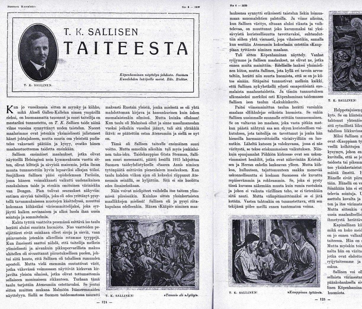 "SK 6 (7.2.1920) Edvard Richter: ""T.K. Sallisen taiteesta"""