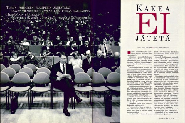 """SK 9/1995 (3.3.1995): Reijo Vahtokari: """"Kakea ei jätetä""""."""