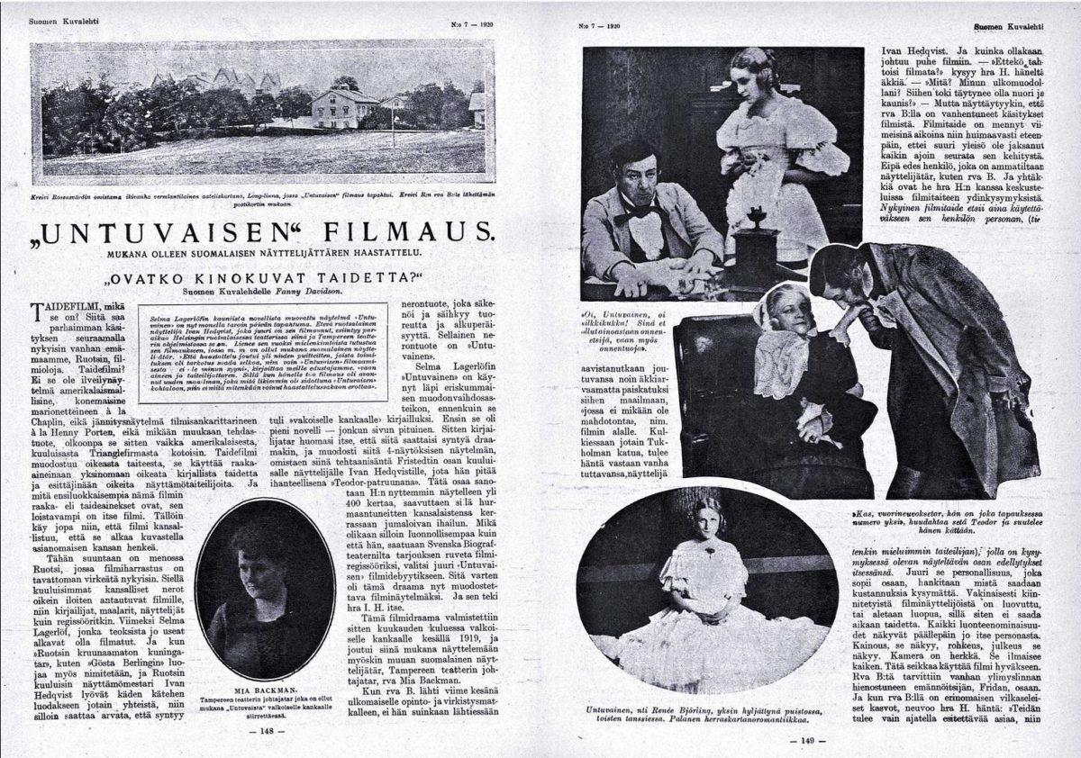 """SK 7/1920 (14.2.1920) Fanny Davidson: """"'Untuvaisen' filmaus–Ovatko kinokuvat taidetta?"""""""