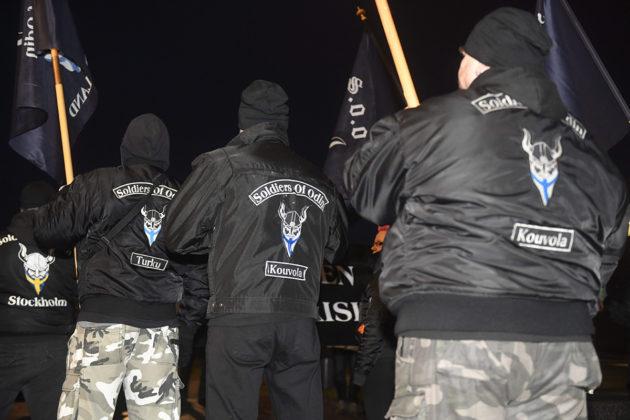 Soldiers of Odin -järjestön jäseniä Helsingissä itsenäisyyspäivänä 6. joulukuuta 2019.