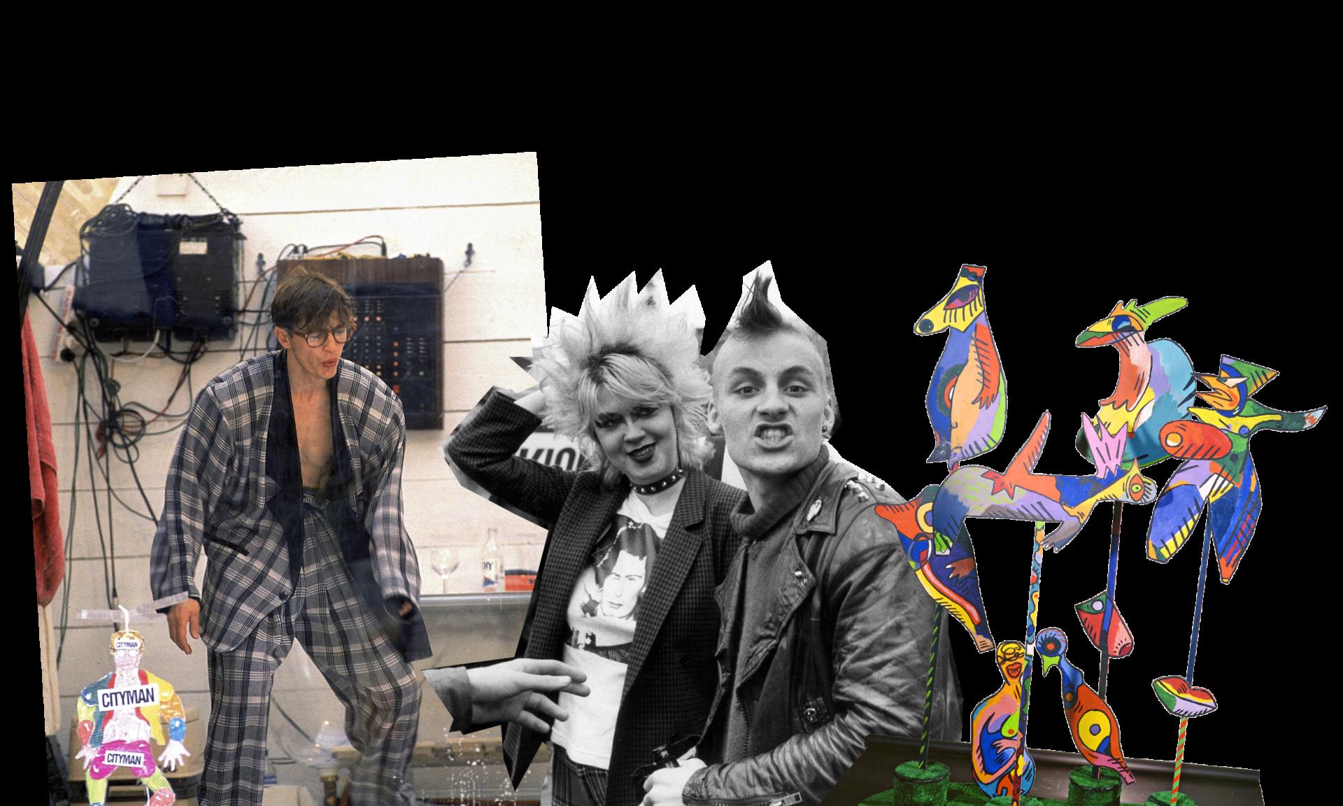 Reijo Kelan performanssi Cityman (1989), punk-aate ja Cris af Enehiemin Tyypit (1984) tiivistivät ajan hengen.