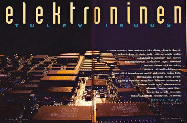"""SK 10/1995 (10.3.1995) Jukka Ukkola: """"Elektroninen tulevaisuus""""."""
